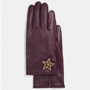 $89 *NEW* COACH Embellished Star Leather Gloves (50% OFF)